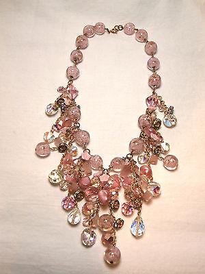 Vintage Glass Murano Bead Dangle Necklace cluster Rhinestone gold fleck costume