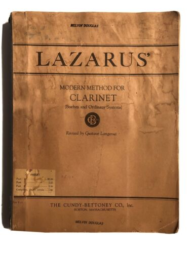 Lazarus Modern Method For Clarinet Part 1-3 Gustave Langenus Cundy-Bettoney Co - $30.00