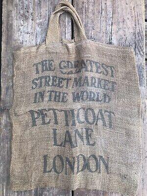 Vintage Original Petticoat Lane London Spitalfields Hessian Market Shopping Bag