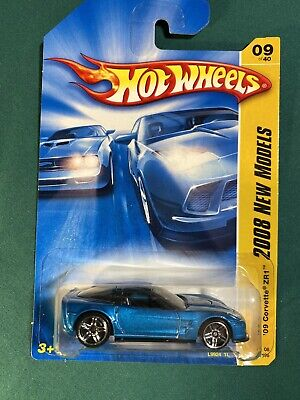 2008 Hot Wheels #9 New Models 9/40 '09 CORVETTE ZR1 Blue *imperfect Card
