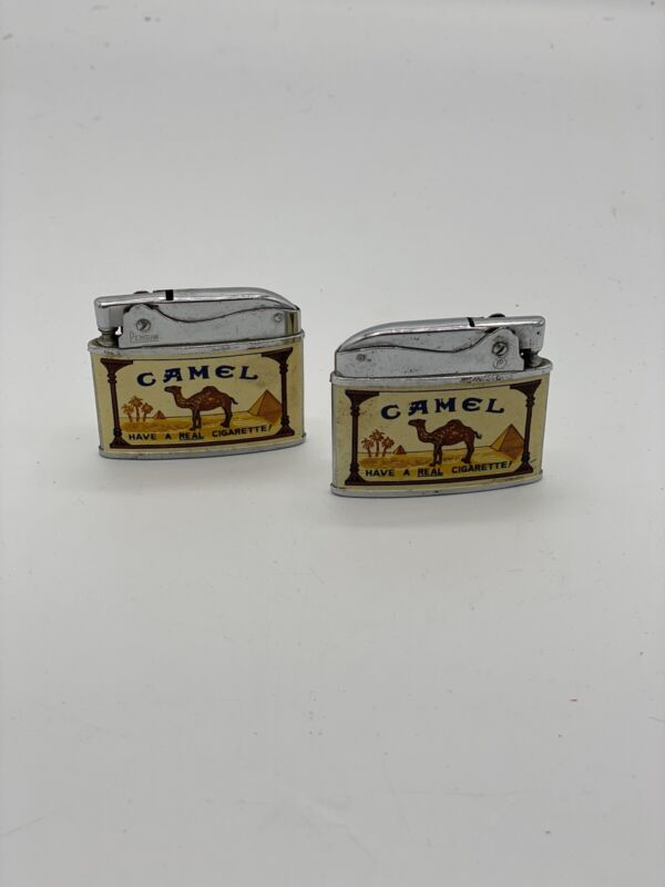 2 Vintage Camel Cigarette Lighters by Crown Japan Two Sided Refillable