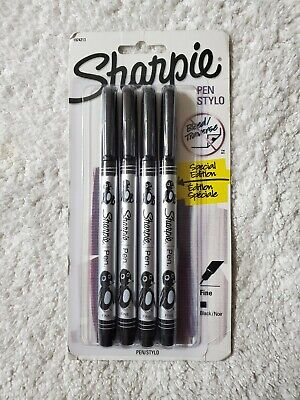 Sharpie Fine Point Porous Pens 0.8 Mm Black Pack Of 4