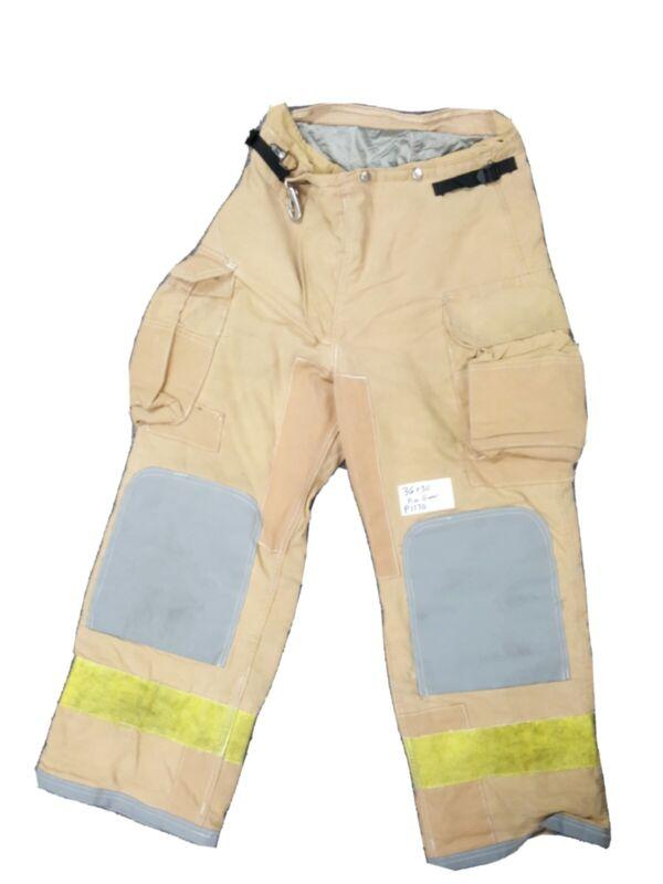 36x30 Tan Firefighter Bunker Turnout Firegear Pants Yellow Reflective Tape P1170