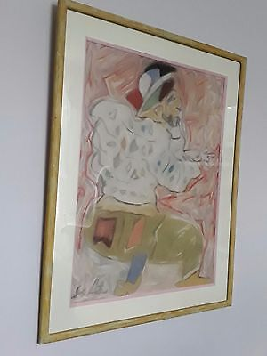 Original abstractl pastel painting 'Man in a white blouse' signed circa 70s