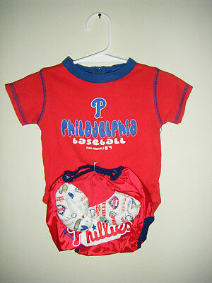 MLB Philadelphia Phillies Baseball Infant Body Snap Suit 6-9 Mo Shorts Socks Set Baseball Infant Bodysuit