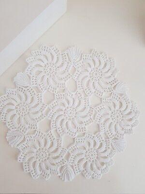 Vintage Handmade Cotton Crochet Doily/brightening white /home decor