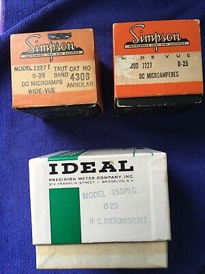 Analog Panel Meters - 0-25 Microamperes Dc - Simpson Ideal Precision