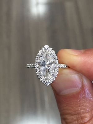 2.00 Ct Marquise Cut Diamond Halo Round Accents Engagement Ring I,VS2 GIA 18K WG 1