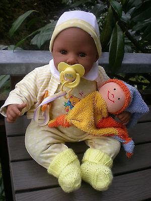 dunkle Zapf Puppe Little Chou Chou 42 cm aus 2002 + viel Zubehör, Babypuppe Doll