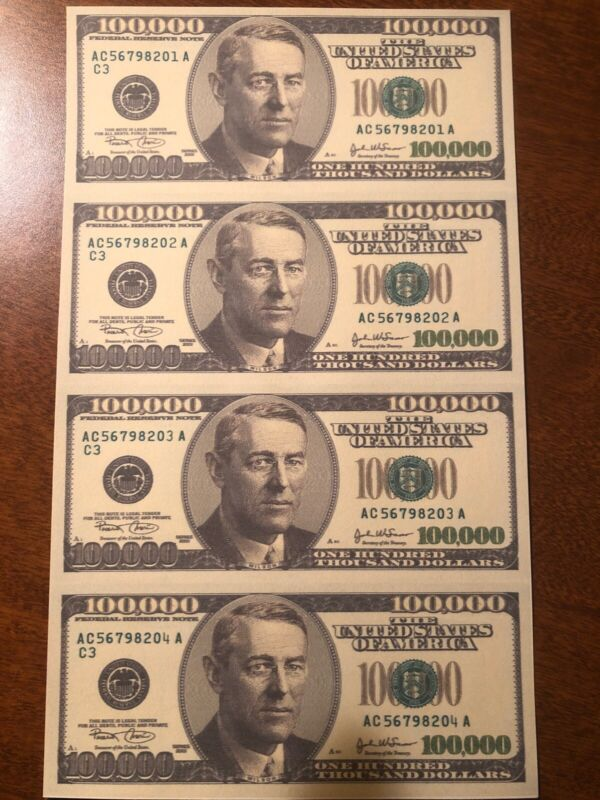 Copy 2001 $100,000 Uncut Reproduction Currency Money Sheet Fantasy