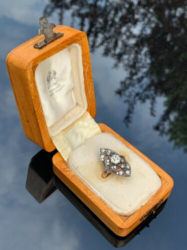 Antique Russian Faberge 14K Gold 1.55ct. Diamonds Ladies Ring Size 7.25