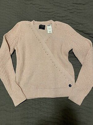 Ballet Pink Wrap Knit Sweater Soft V Neck NWT Abercrombie And Fitch Small