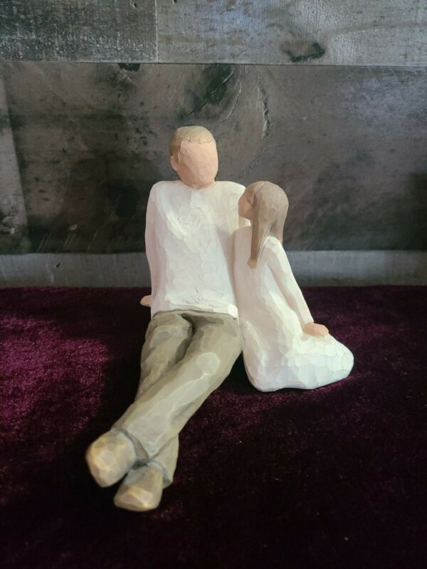 """Willow Tree Father & Daughter Bond Emotion 5""""H Sculpted Natural Hand-Painted"""