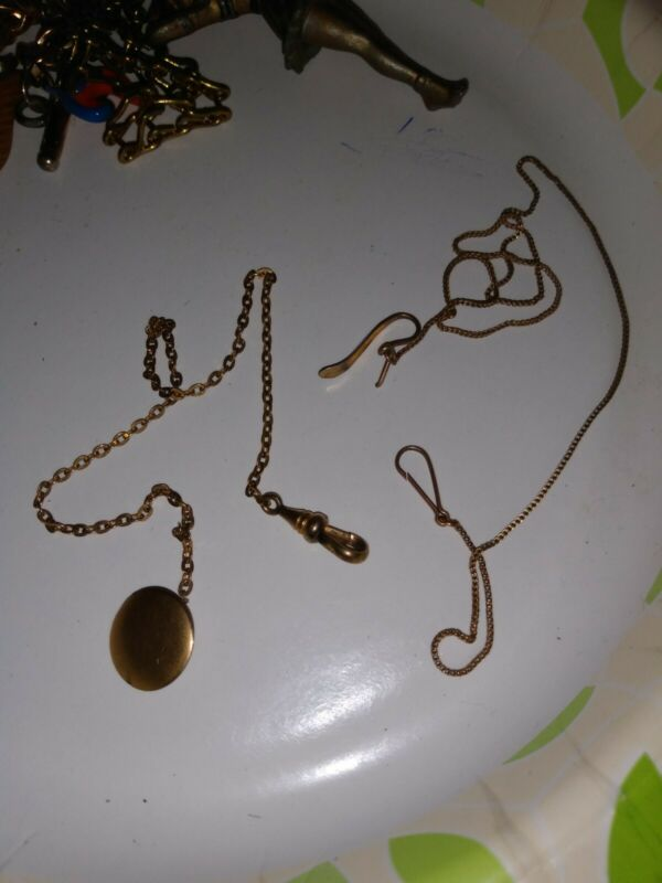 2 VICTORIAN LADIES WATCH CHAINS DAINTY GOLD FILLED