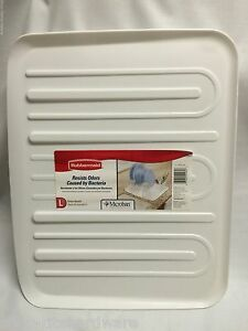 new rubbermaid large white sloped microban dish drainer tray mat drain board ebay. Black Bedroom Furniture Sets. Home Design Ideas