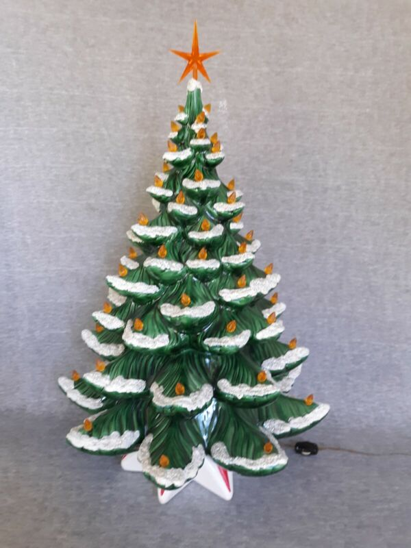 Vintage Christmas Ceramic Mold Lighted Christmas Tree snow covered tips