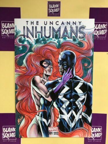 Inhumans #1  medusa and black bolt sexy original sketch cover art