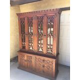 China Cabinet Breakfront Curio Display Gothic Revival