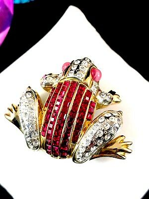 FABULOUS MV VELLANO RUBY RED INVISIBLY SET RHINESTONE PINK CABOCHON FROG BROOCH