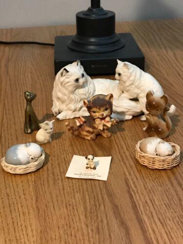 Lot of 8 Vintage Little Kitty Cat Kitten Figurines Lefton Hagen Renaker England