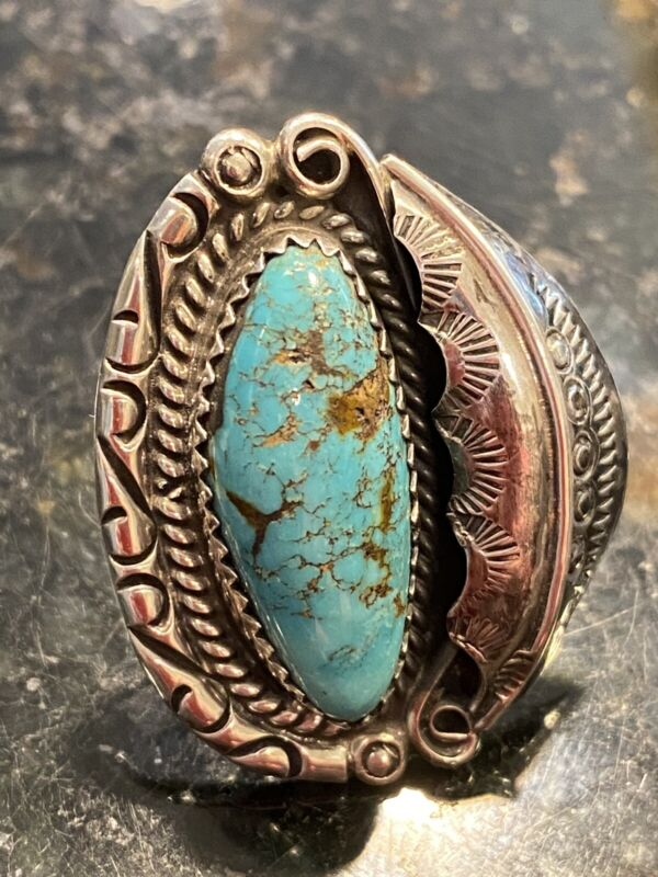 Southwest Native Vintage Silver Turquoise Feather & Scroll Ring 11.1g Sz 4.5