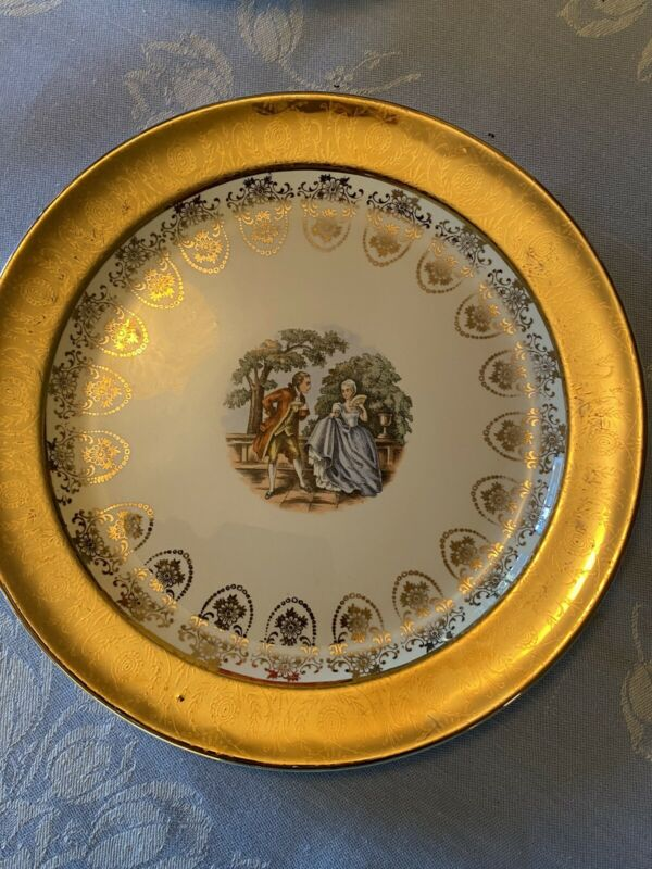 "Taylor Smith Taylor Colonial Couple 10"" Dinner Plate Used"