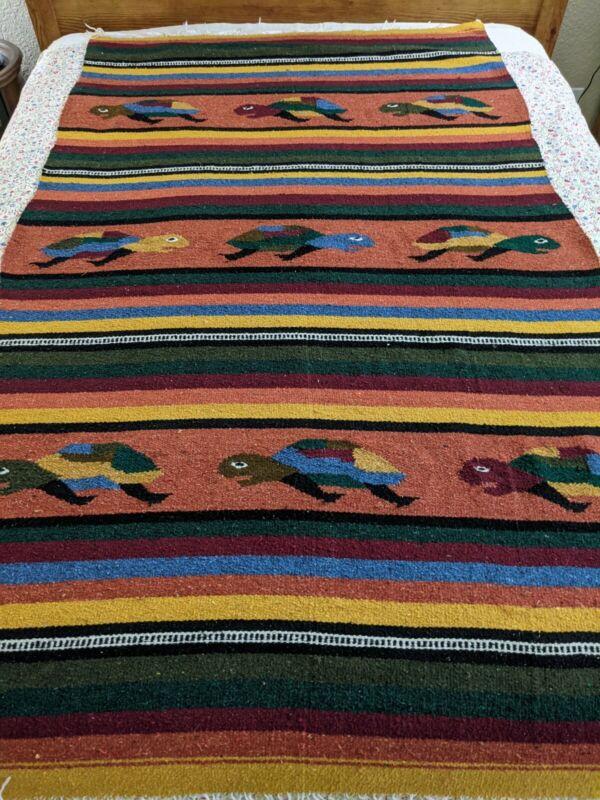 VTG Mexican Fiesta De Tortugas Baja Yoga Handwoven Cotton Blanket TURTLES 79x47