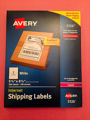 Avery 5126 White Laser Internet Shipping Labels 5 12 X 8 12 200 Labels