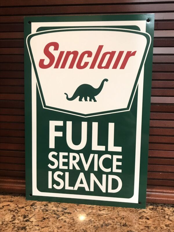 Sinclair Gasoline FULL SERVICE metal sign baked Oil Gas