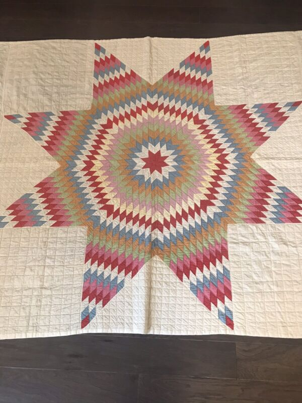 Antique Hand Quilted Lone Star Quilt