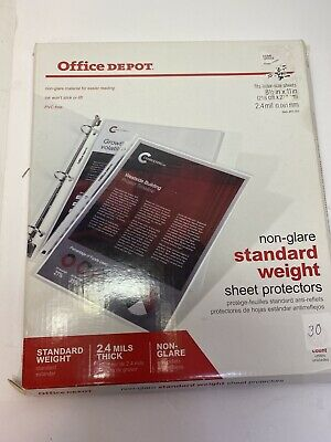 Office Depot Standard Weight Sheet Protectors 8 12 X 11 Clear 30-pack