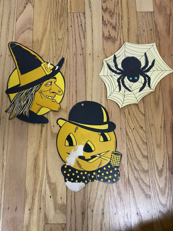 3 Vintage 1950s H.E. Luhrs Halloween Witch Face Spider Web Pumpkin Pipe Die Cut