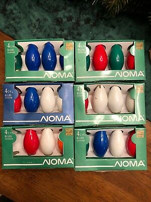Vintage Noma Christmas String Light Bulbs C9 1/4 Lot of 6 Boxed Sets - 23 Lights