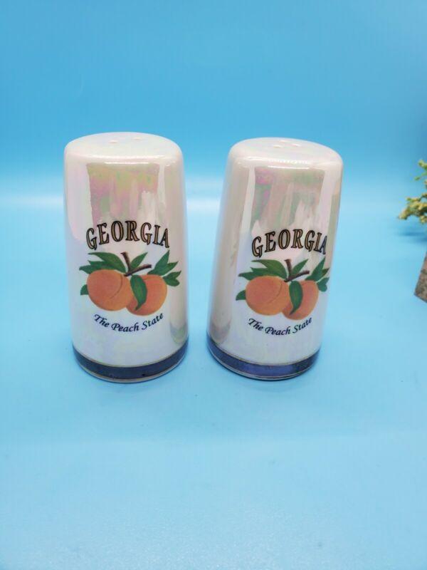 Georgia Peach State Salt & Pepper Shakers Vintage Iridescent Ceramic Souvenir