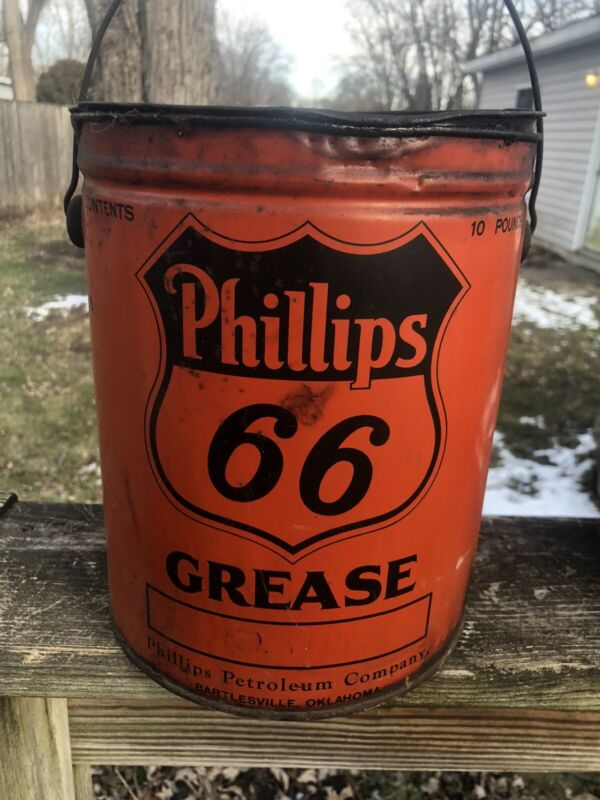 Vintage Rare 1930's Early Phillips 66 Orange & Black 10 LB Grease Oil Can Pail