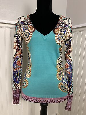 Etro Milano Italy Women's Silk Sweater Top Floral Paisley V Neck Sz 8 EU 38