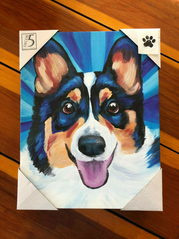Tri Color Corgi Canvas Pembroke Welsh Dog Canvas Picture Wall Art Black Blue