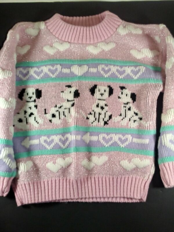 Adele Knitwear RARE Vintage Dalmatian Dog  Pink Pullover Sweater 80s Size 4 t