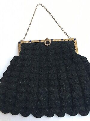 1930s Handbags and Purses Fashion Vtg 1930s-40s Era Black POPCORN CROCHET PURSE Decorative frame Blue Rhinestones $34.95 AT vintagedancer.com