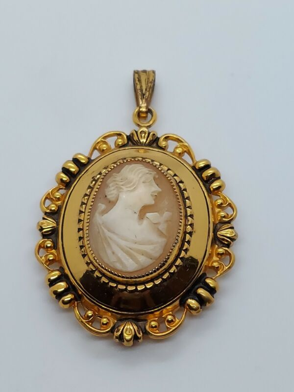 Vintage Gold Tone Carved Shell Cameo Locket Pendant