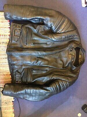 JTS Men's Black Leather Motorcycle Motorbike Jacket Coat UK size 48 XXL for sale  Nottingham