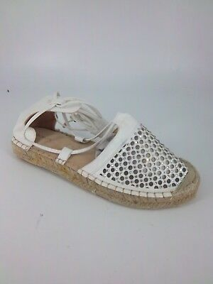 Vices Espadrilles Ankle Lace Up Shoe's White Size UK 4 EU 37 NH087 MM 06