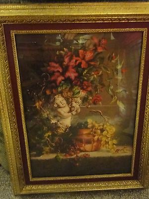 HOME INTERIOR CHERUB FLORAL FRUIT DESIGNER PICTURE THICK HEAVY GOLD FRAME