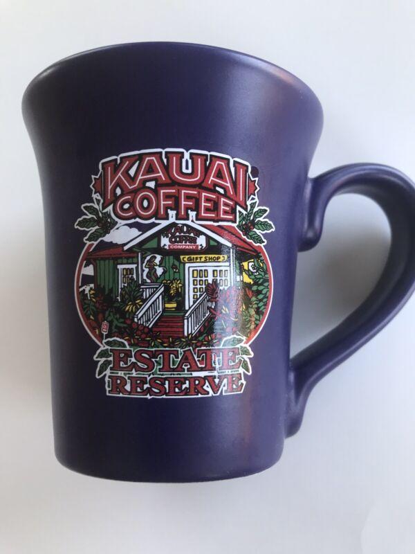 KAUAI COFFEE Estate Reserve Cobalt Blue Flare Coffee Mug 12 oz Heavy Mug