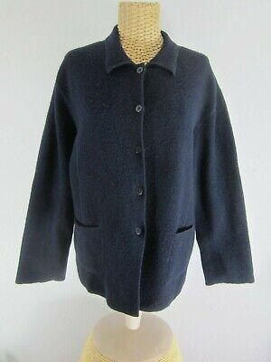 Eileen Fisher Womens Large Navy Blue Long Sleeve Boiled Wool Jacket Blazer L