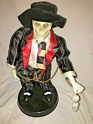 Halloween prop GEMMY ANIMATED ZOOT SUIT SKELETON. Lights, sounds, animates.