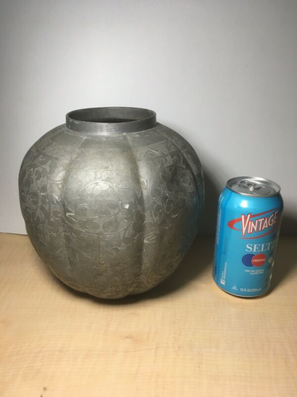 Large Antique ASIAN PEWTER Jar Hand Etched Motif Unmarked