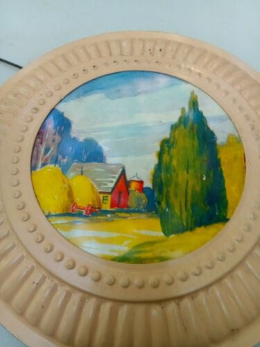 "Vintage Stove Chimney Flue Cover Pastoral Outdoor Scene Wall Art 8"" Diameter"