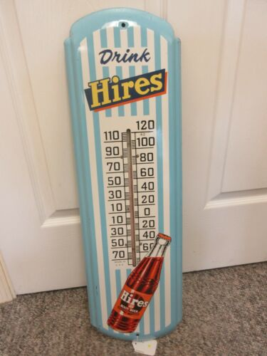 VINTAGE ADVERTISING HIRES ROOT BEER SODA  TIN THERMOMETER STORE DISPLAY A-82