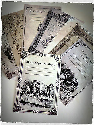 Set of 8 Vintage Style Alice in Wonderland 'This book belongs to' Labels/Plates